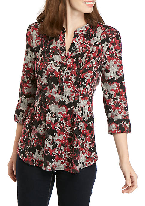 New Directions® 3/4 Sleeve Floral Hacci Knit Henley