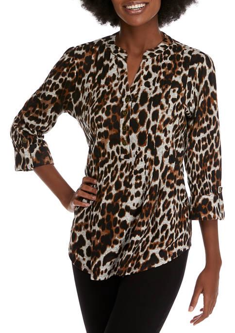 Womens Long Sleeve Leopard Print Top