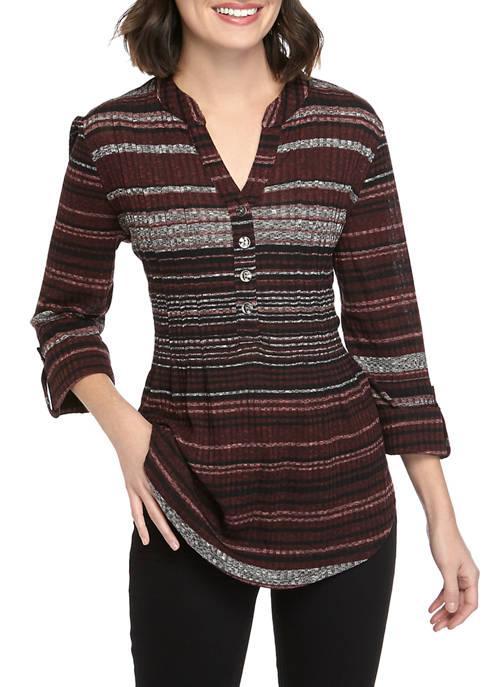 Womens 3/4 Sleeve Rib Marled Striped Henley Top