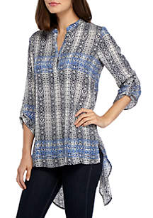Three-Quarter Rolled Tab Split Back Blouse