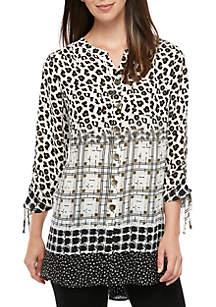New Directions® Long Sleeve Animal Print Plaid Tunic