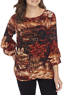 3/4 Double Bell Sleeve Cross Front Top