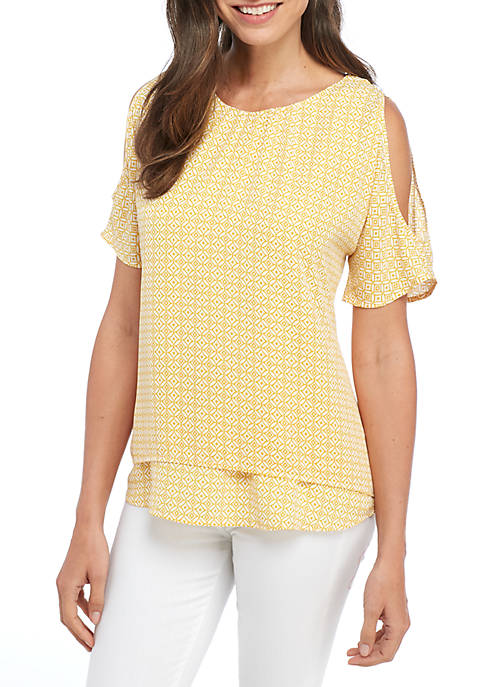 New Directions® Short Cold-Shoulder Sleeve Double Layer Woven