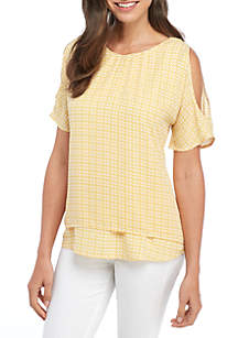 Short Cold-Shoulder Sleeve Double Layer Woven Top