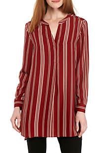 Long Sleeve Twill Stripe Tunic