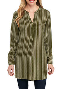 Three-Quarter Rolled Sleeve Striped Tunic