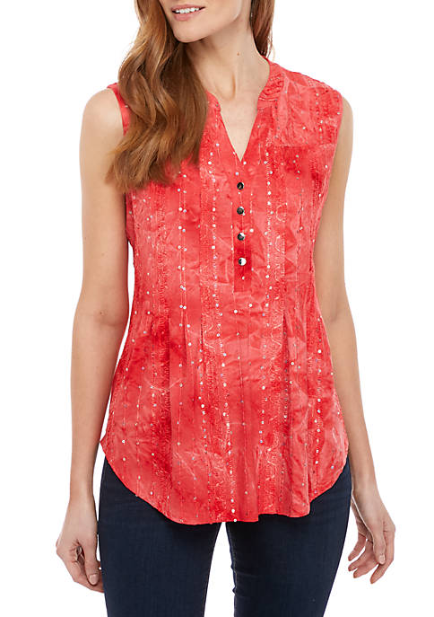 Sleeveless Gomez Round Hem Henley Top