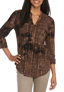 Sequin Jacquard Pleated Roll Tab Sleeve Utility Top