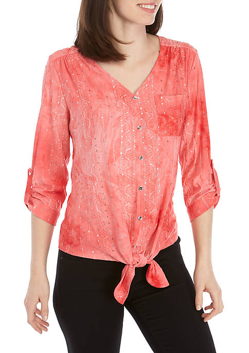 New Directions® 3/4 Sleeve Jacquard Tie Front Top