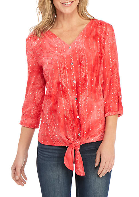 New Directions® 3/4 Sleeve Sequin Button Front Top