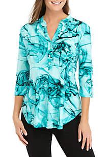 New Directions® 3/4 Roll-Tab Sleeve Tie Dye Swirl Henley Top
