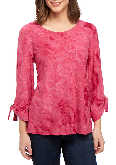 New Directions® 3/4 Grommet Tie Sleeve Top
