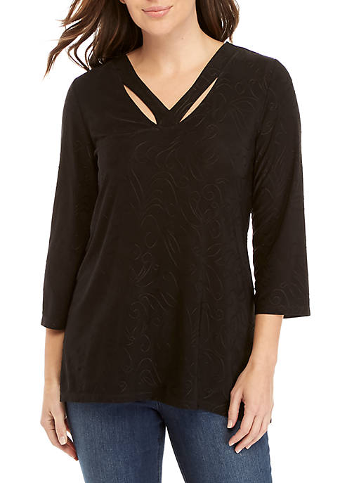 New Directions® 3/4 Sleeve Cutout Neck Top