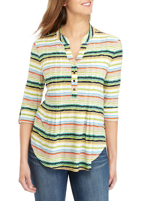 Striped Henley Knit Top