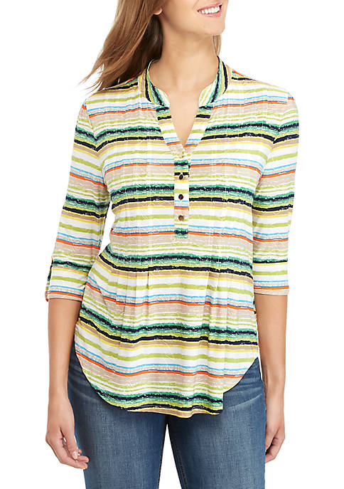 New Directions® Striped Henley Knit Top