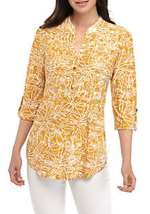 New Directions® 3/4 Sleeve Floral Printed Henley Top