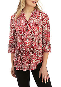 New Directions® Jacquard Henley Print Top