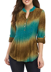 New Directions® Knit 3/4 Sleeve Ombre Stone Green Jacquard Henley Top