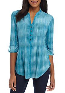 Three-Quarter Sleeve Floral Jacquard Tie-Dye Top