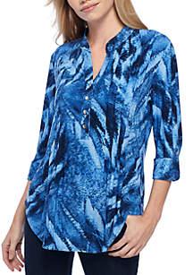 Tie Dye Henley Knit Blouse