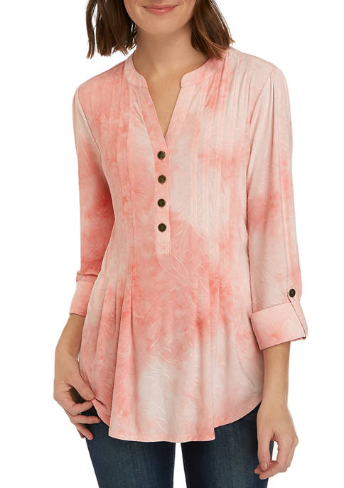 Womens 3/4 Sleeve Disperse Dye Henley Blouse