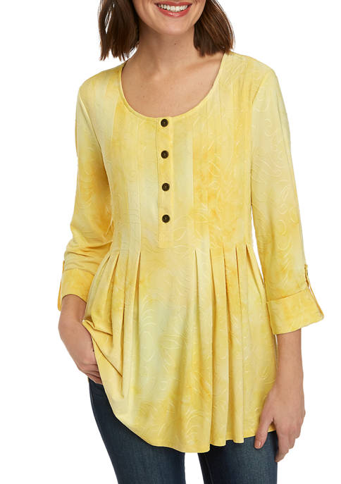 Womens 3/4 Sleeve Disperse Dye Top with Jacquard