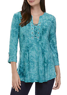 New Directions® Grommet Neck Solid Jacquard Top