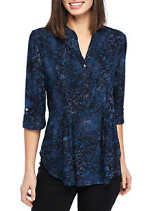 Hi-Low Three-Quarter Roll Sleeve Printed Blouse