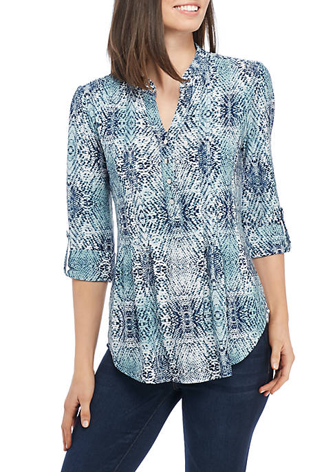 New Directions® High-Low 3/4 Sleeve Henley Top