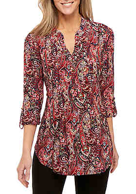 0af60974b81c48 New Directions® 3 4 Roll Tab Sleeve Henley Neck Paisley Puff Print Top ...