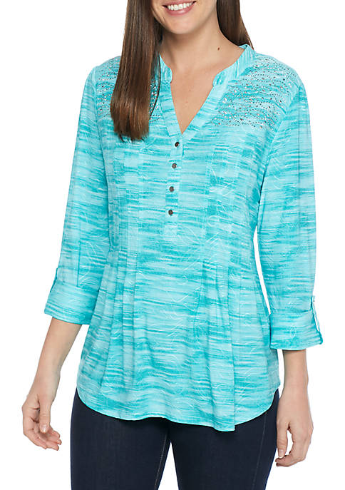 New Directions® High-Low Three-Quarter Sleeve Henley Top
