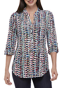 New Directions® Multi-Stripe Jacquard Henley Top