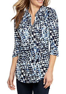 8562f5277c8 Kim Rogers® Flutter Sleeve Eyelet Top · New Directions® 3 4 Roll-Tab Sleeve  Henley Print Top