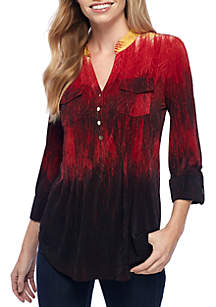 Three-Quarter Sleeve Ombre Jacquard Henley Top