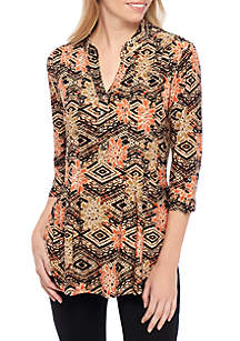 3/4 Sleeve Floral Tribal Print Henley Top