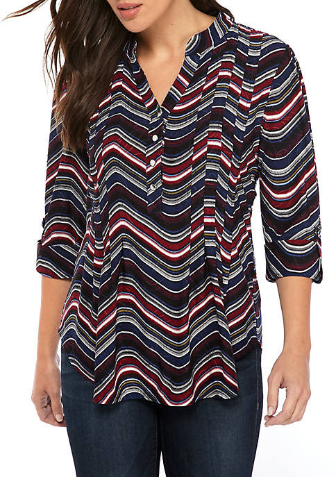 Printed Knit Henley Top