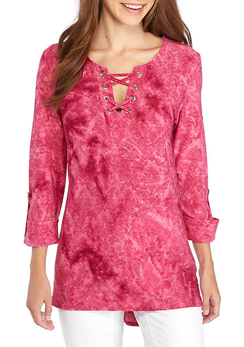 New Directions® 3/4 Roll Tab Lace-Up Grommet Tunic