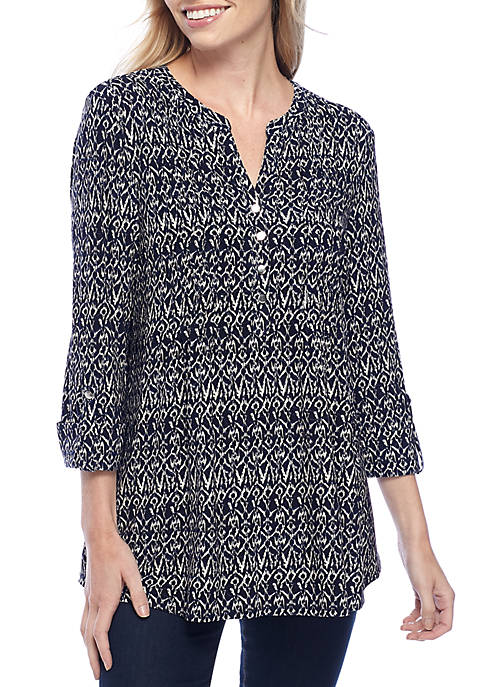New Directions® Small Ikat Henley Knit Blouse