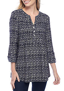 Small Ikat Henley Knit Blouse