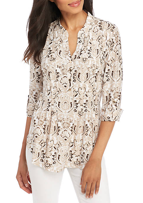 New Directions® High Low Paisley Scroll Henley Top