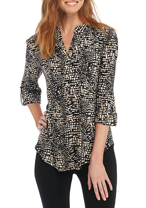 New Directions® Square Print Henley Knit Top