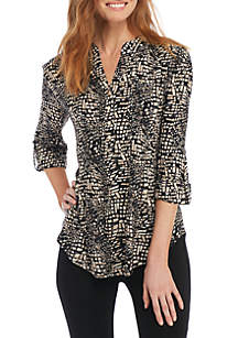 Square Print Henley Knit Top