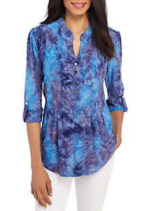 High Low Tie Dye Henley Knit Top