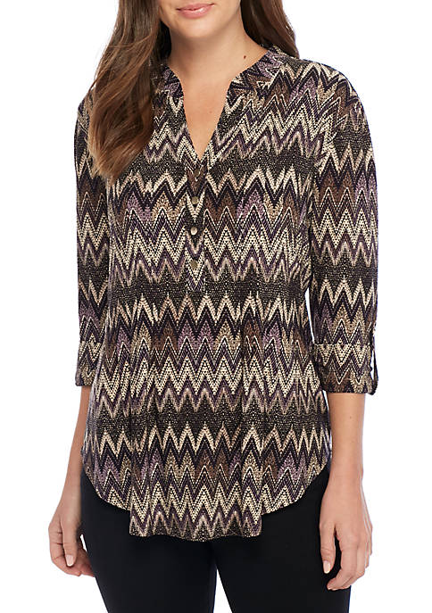 New Directions® High Low Chevron Henley Knit Blouse