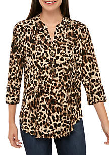 New Directions® Roll Sleeve Animal Print Knit Top