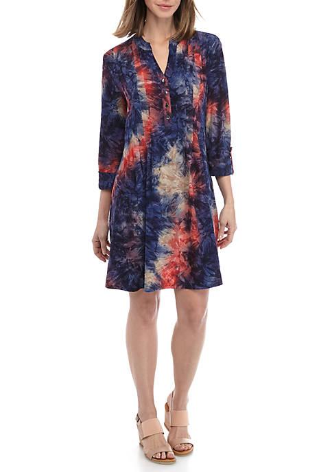 3/4 Roll Tab Sleeve Tie Dye Printed Dress