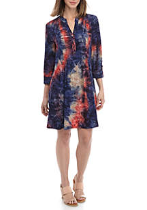 New Directions® 3/4 Roll Tab Sleeve Tie Dye Printed Dress