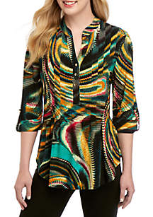New Directions® 3/4 Sleeve Multi Swirl Henley Top