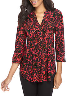 Three-Quarter Sleeve Large Floral Print Henley Top