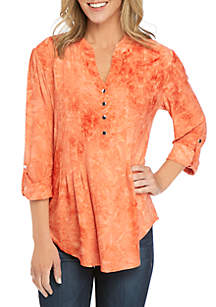 New Directions® 3/4 Sleeve Disperse Dye Henley Top